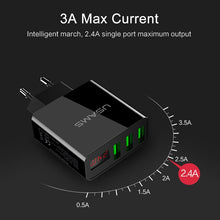 Load image into Gallery viewer, USAMS 3 Port USB Phone Charger LED Display EU Plug Total Max 3A Smart Fast Charger Mobile Wall Charger for iPhone iPad Samsung