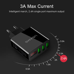USAMS 3 Port USB Phone Charger LED Display EU Plug Total Max 3A Smart Fast Charger Mobile Wall Charger for iPhone iPad Samsung