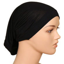 Load image into Gallery viewer, 2019 New Elastic Cotton Turban Hat Solid Color Women Warm Winter Headscarf Bonnet Inner Hijab Caps For Female Muslim Wrap Head