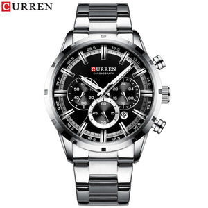 CURREN New Fashion Mens Watches with Stainless Steel Top Brand Luxury Sports Chronograph Quartz Watch Men Relogio Masculino