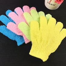 Load image into Gallery viewer, 1 Piece Exfoliating Gloves Mitt  Bath Shower Scrub Tan Dead Skin Removal Exfoliator Elastic Five-Finger Bath Gloves Random Color