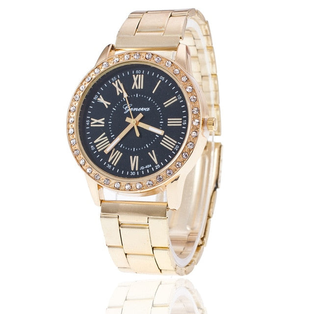 Fashion Women Watches Geneva Classic Women's Diamond Gold Wrist Watch Ladies Watch Dress Clock relogio masculino reloj mujer