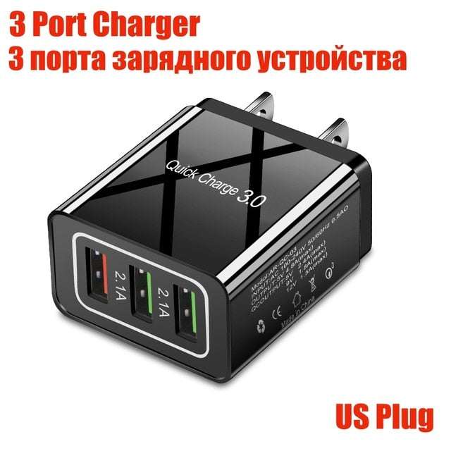 48W Quick Charge 4.0 3.0 4 Port USB Charger USB Fast Charger QC4.0 QC3.0 For Samsung S10 A50 Xiaomi Mi9 iPhone X 7 Wall Adapter