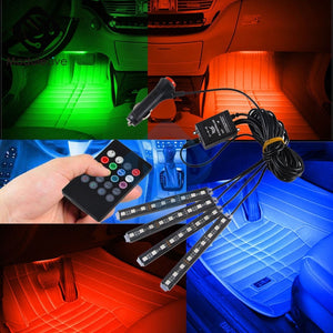 Auto Interni RGB Color 9 LED Strip Light Kit Wireless Music Control Automatic Controller 7 color For Atmosphere