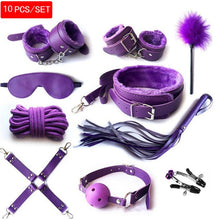 Load image into Gallery viewer, 10 Pcs/set handcuffs police Cosplay Tools Toys for Set Handcuffs Nipple Clamps Gag Whip Rope Sex Toys For Couples sexy mask