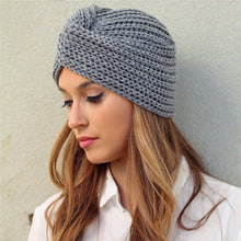 Load image into Gallery viewer, Muslim inner hijab caps bohemia turban cashmere cross wrap head Indian hat wool knitting hijab bonnet turbante cap ready to wear