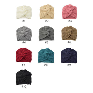 Muslim inner hijab caps bohemia turban cashmere cross wrap head Indian hat wool knitting hijab bonnet turbante cap ready to wear