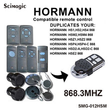 Load image into Gallery viewer, 1PCS 4 channel Hormann HSM4 868 mhz garage gate opener Compatible with Hormann HSM2, HSM4 868MHz door remote control command