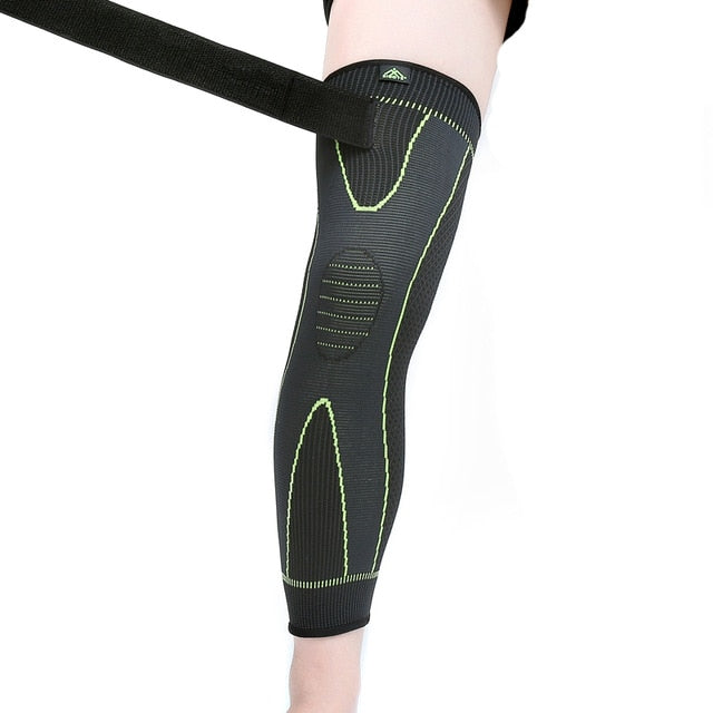 Hot elastic yellow-green stripe sports lengthen knee pad leg sleeve non-slip bandage compression leg warmer for men and women