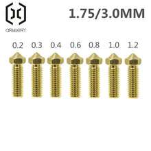 Load image into Gallery viewer, Volcano Nozzles 3D Printer All Metal Brass 3D Lengthen Extruder Nozzle 0.2/0.3/0.4/0.6/0.8/1.0/1.2mm for 1.75/3mm Supplies