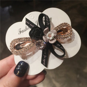 Elegant Bow  Metal Rhinestone Hair Clip Women Clips Barrettes Crystal Hairgrips Waterdrop Hairpins Hair Accessories Snap Clips