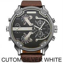 Load image into Gallery viewer, OULM Sports Quartz Watch Men Big Case Military Mens Watches Top Brand Luxury Canvas Strap 2 Time Zone Fashion Casual Wristwatch
