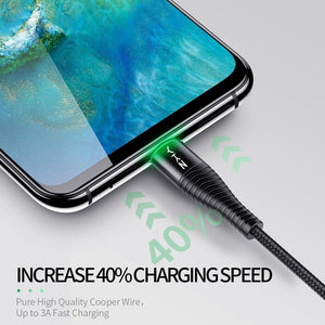 YKZ LED 3A USB Type C Cable Fast Charging Wire for Samsung Galaxy S8 S9 Plus Xiaomi K20 Pro Mobile Phone USB C charger cable