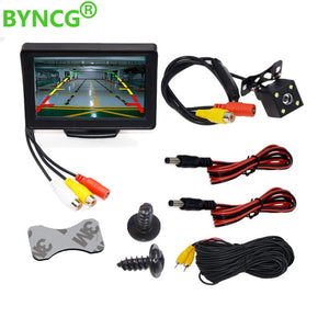 "Car Rear View Camera Wide Degree 4.3"" TFT LCD Color Display Monitor + Waterproof Night Vision Reversing Backup 2In1 Parking Reve"