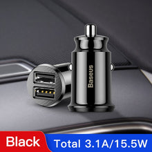 Load image into Gallery viewer, Baseus Mini USB Car Charger For Mobile Phone Tablet GPS 3.1A Fast Charger Car-Charger Dual USB Car Phone Charger Adapter in Car