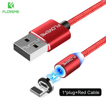 Load image into Gallery viewer, FLOVEME 1M Magnetic Charge Cable Micro USB Cable For iPhone 11 Pro Max XR Magnet Charger USB Type C Cable LED Charging Wire Cord
