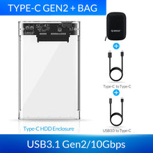 Load image into Gallery viewer, ORICO HDD Case 2.5 inch Transparent SATA to USB 3.0 3.1 Hard Disk Case Tool Free 5Gbps 4TB UASP Type C SSD HDD Enclosure 10Gbps