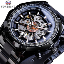 Load image into Gallery viewer, Forsining 2019 Stainless Steel Waterproof Mens Skeleton Watches Top Brand Luxury Transparent Mechanical Sport Male Wrist Watches