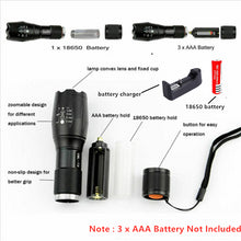 Load image into Gallery viewer, LED Rechargeable Flashlight Abay XML T6 linterna torch 18650 Battery 5 Modes Waterproof Outdoor Camping Powerful Led Flashlight