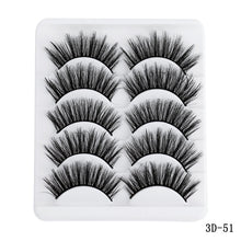 Load image into Gallery viewer, 5 Pairs Multipack 5D Soft Mink Hair False Eyelashes Handmade Wispy Fluffy Long Lashes Nature Eye Makeup Tools Faux Eye Lashes