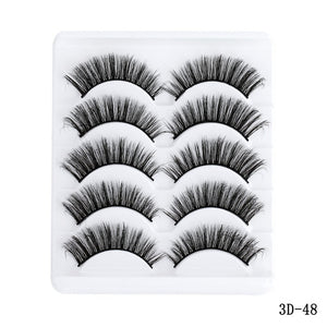 5 Pairs Multipack 5D Soft Mink Hair False Eyelashes Handmade Wispy Fluffy Long Lashes Nature Eye Makeup Tools Faux Eye Lashes
