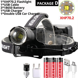 Super Bright XHP70.2 USB Rechargeable Led Headlamp XHP70 Most Powerfull Headlight Fishing Camping ZOOM Torch by 3*18650 battery