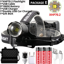 Load image into Gallery viewer, Super Bright XHP70.2 USB Rechargeable Led Headlamp XHP70 Most Powerfull Headlight Fishing Camping ZOOM Torch by 3*18650 battery
