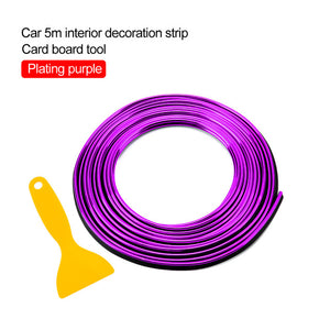 Car Styling 5M/pcs Universal Flexible Car Interior Decoration Moulding Trim Strips Car Central Control and Door Decoration Strip