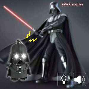 Dark Warrior LED Light Keychain Flashlight D Buckle Cartoon Night Light with Sound Children Gift Black Warrior