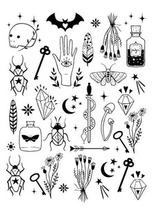 Waterproof Temporary Fake Tattoo Stickers Black Devil Doesn't Sleep English Letters Cool Design Body Art Make Up Tools