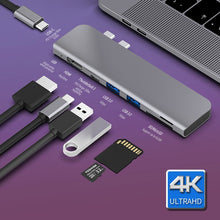 Load image into Gallery viewer, USB 3.1 Type-C Hub To HDMI Adapter 4K Thunderbolt 3 USB C Hub with Hub 3.0 TF SD Reader Slot PD for MacBook Pro/Air 2018/2019