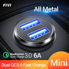 Load image into Gallery viewer, FIVI Car Charger for mobile phone quick charge 3.0  USB Charger for iphone 11 pro Samsung huawei xiaomi mini car chargeAll Metal
