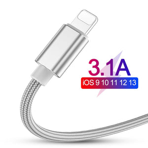 3.1A Fast Charging USB Cable For iPhone XS Max XR X 8 7 6 6S 5 5S iPad Cord Mobile Phone Cable Fast Data Charging cable