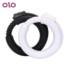 Load image into Gallery viewer, OLO Cock Ring Silicone Penis Rings Delay Ejaculation Adjustable Male Chastity Device White/Black Sex Toys for Men Adult Products