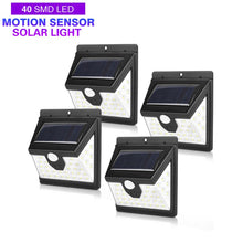 Load image into Gallery viewer, 40 LED Solar Power Light 3 Modes Human Body Sensor 4pcs Solar Wall Lamp Outdoor Waterproof Energy Saving Garden Yard Lights