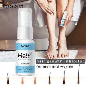 Organic Herbal Permanent Hair Growth Inhibitor Repair Nourish Smooth Body Hair Removal Spray for Private Parts Leg Facial Hair