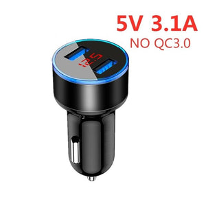 ROCK QC3.0 Metal Dual USB Car Charger Digital Display For iPhone 11 X 8 XS MAX 7 Xiaomi Samsung Fast Charging Voltage Monitoring
