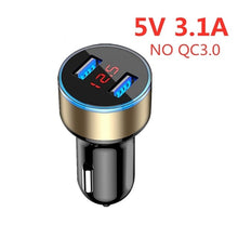 Load image into Gallery viewer, ROCK QC3.0 Metal Dual USB Car Charger Digital Display For iPhone 11 X 8 XS MAX 7 Xiaomi Samsung Fast Charging Voltage Monitoring