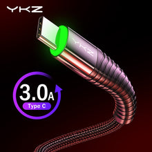 Load image into Gallery viewer, YKZ LED 3A USB Type C Cable Fast Charging Wire for Samsung Galaxy S8 S9 Plus Xiaomi K20 Pro Mobile Phone USB C charger cable