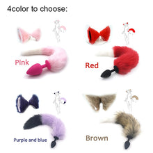 Load image into Gallery viewer, Silicone Plug  Fox Tail butt plug and lovely ears anal Sex Toy for women Adult Games Sex Products and dildo vibrator