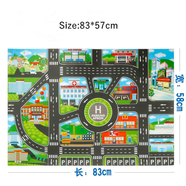 83*57cm/130*100CM Large City Traffic Car Park Play Mat Waterproof Non-woven Kids Playmat Pull Back Car Toys for Children's Mat