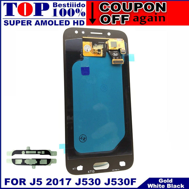 For Samsung Galaxy AMOLED LCD J5 2017 J530 SM-J530F J530M LCD Display Touch Screen Digitizer Assembly With Brightness Adjustment