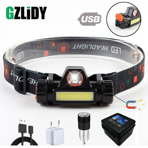 Waterproof LED headlamp COB work light 2 light mode with magnet headlight built-in 18650 battery suit for fishing, camping, etc.