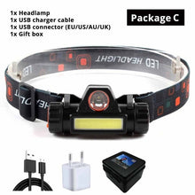 Load image into Gallery viewer, Waterproof LED headlamp COB work light 2 light mode with magnet headlight built-in 18650 battery suit for fishing, camping, etc.