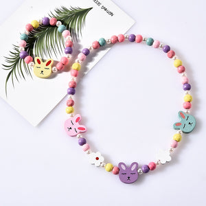 Girl Beads Toys Necklace+Bracelet Butterflies Flowers Baby Handmade Necklace Accessories Princess Children Birthday Gifts