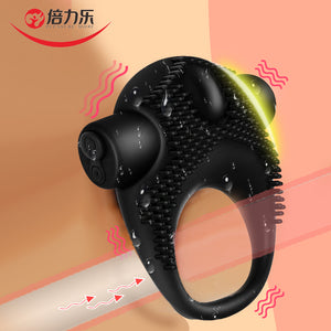 Beilile Delayed Ejaculation Penis Ring Vibrator Studs USB Charging Silicone Cock Ring Vibrating On Dick For Sex For Men Cockring