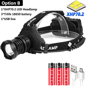 Powerful 8000LM XHP70.2 LED Headlamp USB Rechargeable Headlight Waterproof Zoomable Power Bank Fishing Light Using 18650 Battery