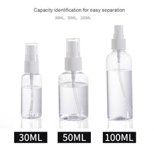 Load image into Gallery viewer, 1Pcs Transparent Empty Spray Bottles 30ml/50ml/100ml Plastic Mini Refillable Container Empty Cosmetic Containers