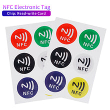 Load image into Gallery viewer, 6pcs/Lot New NFC Tags Stickers NTAG213 NFC Tags RFID Adhesive Label Sticker Universal Lable Ntag213 RFID Tag for All NFC Phones