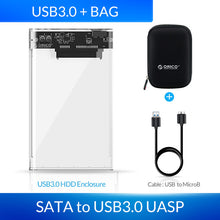 Load image into Gallery viewer, ORICO HDD Case 2.5 Transparent SATA to USB 3.0 Adapter External Hard Drive Enclosure for 7mm/9.5mm SSD Disk HDD UASP SATA III